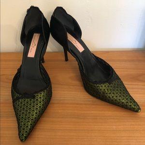 "Alexandra Neel 3"" Heels   Black + Green Lace Bows"